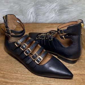 TOPSHOP Leather Strappy Buckle Pointed Flats